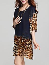 Robe Femme Décontracté / Quotidien Grandes TaillesLéopard Col Arrondi Au dessus du genou ½ Manches Bleu Eté Micro-élastique Moyen