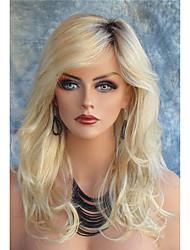 жен. Парики из искусственных волос Лента спереди Длиный Естественные кудри Блондинка Темные корни Боковая часть С чёлкой Парик из