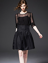 FRMZ  Going out Sophisticated Sheath DressSolid Round Neck Knee-length / Above Knee Sleeve Black Polyester