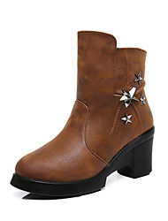 Women's Low Top Solid Zipper Round Closed Toe High Heels Boots with Metal Nail