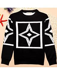 Casual/Daily Geometric Sweater & Cardigan,Cotton Winter Spring Fall Long Sleeve Regular