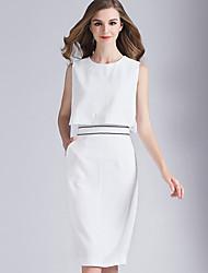 Eosciy® Damen Rundhalsausschnitt Ärmellos Midi Kleid-80403