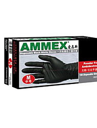прочный черный одноразовые нитриловые перчатки размер м