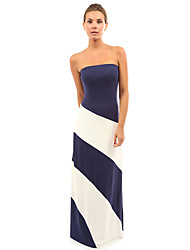 Women's Formal Sexy Sheath DressGalaxy Off Shoulder Maxi Sleeveless Blue / Black / Purple Cotton Summer Mid Rise