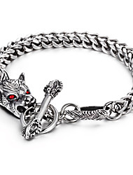 Cheap 316L Stainless Steel Link Chain Red Evil Eyes Animal Wolf Charm Bracelet 2016 New Punk Hip Hop Halloween  Christmas Gifts