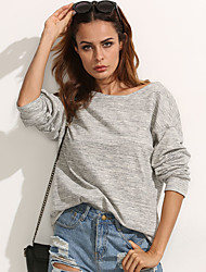 Women's Going out Street chic All Seasons T-shirt Solid Round Neck Long Sleeve