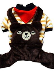 Stripe Bear Design Overall Flannel Jumpsuits for Pets Dogs (Assorted Sizes and Colours)