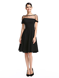 TS Couture Cocktail Party Prom Dress - Little Black Dress A-line Bateau Knee-length Jersey with Pleats