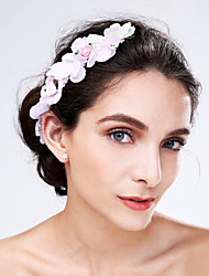 Women's Tulle / Acrylic Headpiece-Wedding / Special Occasion Flowers 1 Piece Pink Flower 0
