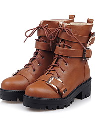 Women's Boots Spring Fall Winter Novelty Ankle Strap PU Athletic Casual Chunky Heel Buckle Zipper Lace-up Black Brown Trail Running
