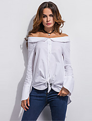 Для женщин На выход На каждый день Лето Осень Рубашка Вырез лодочкой,Простое Уличный стиль Однотонный Длинный рукав,Полиэстер,Тонкая