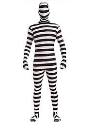 Men's Stripe  Prisoner  Zentai Hooded Halloween Costume