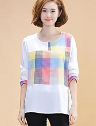 Damen Schachbrett Einfach Lässig/Alltäglich T-shirt,Rundhalsausschnitt Herbst Langarm Weiß Baumwolle / Leinen Mittel