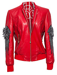 Women's Going out / Casual/Daily / Party Fall Leather Jackets Solid Round Neck 7727