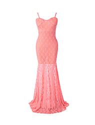 Women's Formal Sexy Lace DressSolid Strap Maxi Sleeveless Red Acrylic Summer / Fall High Rise Inelastic Medium