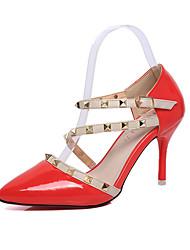 Damen-High Heels-Kleid / Party & Festivität-Leder-Stöckelabsatz-Absätze / Spitzschuh-Schwarz / Rot / Weiß