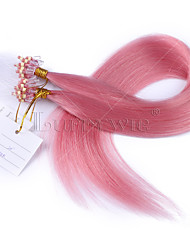 Top Quality Pink Color Micro Loop Ring Links Virgin Straight Human Hair Peruvian Hair Micro Loop Ring Hair Extensions