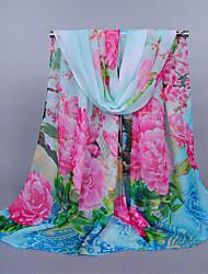 Women's Chiffon Flowers Print Scarf Yellow/Blue/Pink