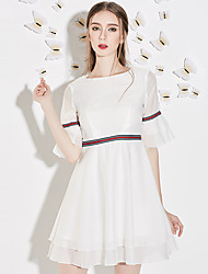 J&D Women's A Line DressStriped Round Neck Above Knee  Length Sleeve White Polyester Summer High Rise Micro-elastic