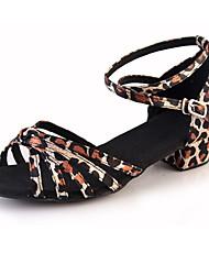 Kids' Dance Shoes Suede Suede Latin Heels Chunky Heel Beginner Black Silver Gold