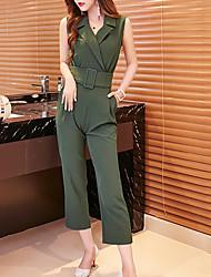 Femme Combinaison-pantalon,Vintage Décontracté / Quotidien Couleur Pleine Col en V Sans Manches Polyester Micro-élastiqueToutes les