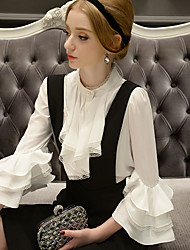DABUWAWA Women's Going out / Party / Holiday Vintage / Punk & Gothic / Sophisticated Blouse,Solid Stand ¾ Sleeve