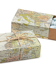 12 Peça/Conjunto Titular Favor-Cubóide Papel de CartãoCaixas de Ofertas Bolsas de Ofertas Latinhas Lembrança Jarros e Garrafas para Doces