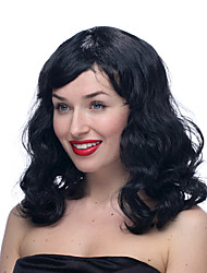 Black Moderate length Curly Halloween Wig Synthetic Wigs Costume Wigs