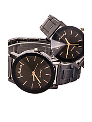 Women/Men/Couple Black Steel Band Analog Quartz Wrist Watch