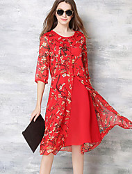 Women's Casual/Daily Simple Sheath DressFloral Round Neck Knee-length  Length Sleeve Red Polyester