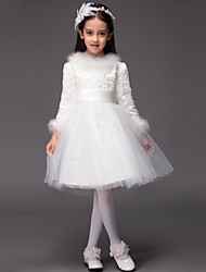 Ball Gown Knee-length Flower Girl Dress - Tulle Long Sleeve Jewel with Bow(s)
