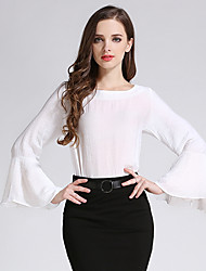 Women's Going out Street chic Fall T-shirtSolid Round Neck Long Sleeve White / Black Linen Medium