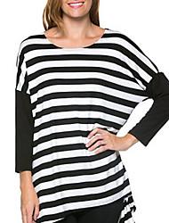 Damen Gestreift Einfach Lässig/Alltäglich T-shirt,Rundhalsausschnitt Frühling / Herbst Langarm Schwarz Baumwolle Mittel
