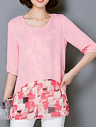 Women's Print Blue / Pink / Gray Blouse,Round Neck ¾ Sleeve