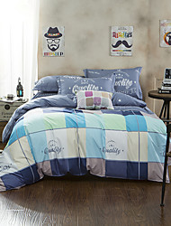 Bedtoppings Comforter Duvet Quilt Cover 4pcs Set Queen Size Flat Sheet Pillowcase Bue Cheque Pattern Prints Microfiber