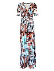 Ample Robe Femme Grandes Tailles Bohème,Imprimé Col en V Maxi Manches Courtes Bleu Polyester Printemps / Automne Taille Haute Elastique