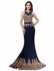 Formal Evening Dress Trumpet / Mermaid Jewel Sweep / Brush Train Chiffon / Lace with Appliques / Beading / Lace