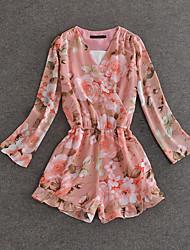 simples floral demo / bordado rosa jumpsuitsvintage pescoço v manga longa