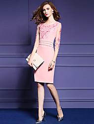 Damen Hülle Kleid-Ausgehen / Übergröße Street Schick Solide / Stickerei Rundhalsausschnitt Übers Knie ¾-Arm Blau / Rosa Polyester Herbst