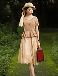 Ample / Gaine Robe Femme Sortie Vintage,Fleur Col Arrondi Mi-long Manches Courtes Beige Coton / Polyester Eté Taille Normale