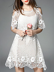 Women's Casual/Daily Simple Loose Dress,Solid Round Neck Above Knee ½ Length Sleeve Blue / White Polyester Summer