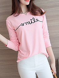 Women's Going out / Holiday Simple / Sophisticated Spring / Fall T-shirtSolid Round Neck Long Sleeve
