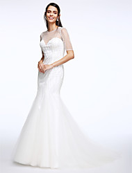 Mermaid / Trumpet Illusion Neckline Court Train Tulle Wedding Dress with Beading Button by LAN TING BRIDE®