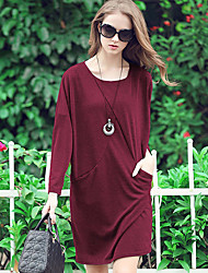 LUTING Women's Round Neck Long Sleeve Above Knee Dress-2218