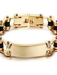 Homens Pulseiras em Correntes e Ligações Personalizado Clássico Aço Inoxidável Chapeado Dourado 18K ouro Forma Geométrica Jóias ParaFesta