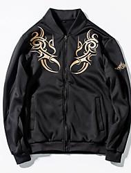Men's Long Sleeve Casual / Sport JacketPolyester Solid Black