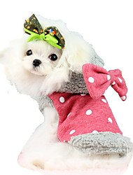 Cat Dog Coat Hoodie Dog Clothes Winter Spring/Fall Bowknot Cute Keep Warm Red Blue