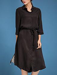 yishidian  Women's Simple Solid Shirt Dress,Shirt Collar Midi Silk