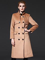 frmz mulheres que saem rua coatsolid chique Stand Médio lã de outono / inverno marrom / poliéster manga longa