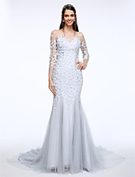 Lanting Bride® Trumpet / Mermaid Wedding Dress Court Train Scoop Lace / Satin / Tulle with Pearl / Appliques / Beading / Lace